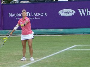 Tamarine Tanasugarn - Tamarine Tanasugarn serving to Dinara Safina in their semifinal match at the Ordina Open
