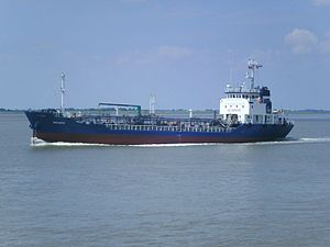 Tanker (ship) - The small coastal tanker Pegasus on the River Weser