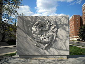 Taras Shevchenko Memorial - The granite wall and relief of Prometheus.