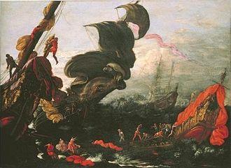 Agostino Tassi - The Fleet of Aeneas, by Tassi