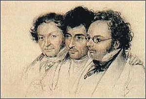 Anselm Hüttenbrenner - Three friends (Johann Baptist Jenger, Anselm Hüttenbrenner and Franz Schubert) by Josef Eduard Teltscher, 1827