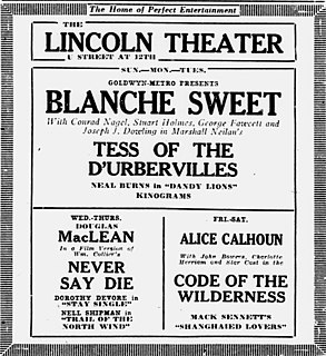 <i>Tess of the dUrbervilles</i> (1924 film) 1924 film by Marshall Neilan