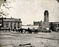 Texas State Penitentiary at Huntsville prison yard in 1870s.jpg