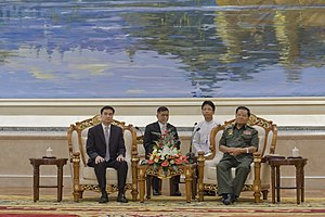 Than Shwe - Than Shwe meets with Thai Prime Minister Abhisit Vejjajiva at Naypyidaw in 2010.