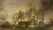 Painting of a naval battle, four sailing ships on a choppy sea, obscured by smoke, figures visible on the decks and in the rigging