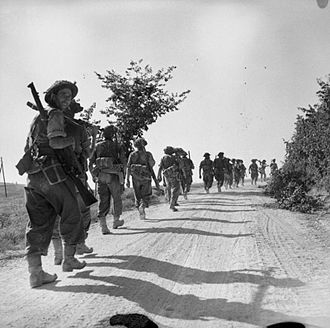 128th Infantry Brigade (United Kingdom) - Men of the 2nd Battalion, Hampshire Regiment move up to their last objective before the Gothic Line, Italy, 27 August 1944.