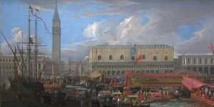 The Bucintoro Departing from the Bacino di San Marco by Luca Carlevarijs, Getty Center.JPG