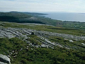Natural region - The Burren, a vast natural region in Ireland; view of the western scarp