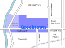 Location of Greektown Γκρικτάουν  (Greek) The Danforth Το Ντανφόρθ  (Greek)