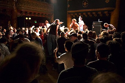 Audience members moshing at a Dillinger Escape Plan show. The Dillinger Escape Plan-32.jpg