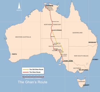 Strecke der The Ghan