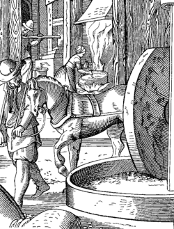 The Manufacture of Oil, drawn and engraved by J. Amman in the Sixteenth Century.