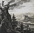 The Phillip Medhurst Picture Torah 616. Moses goes to the mountain of Nebo. Deuteronomy cap 34 v 1. Schellenberg.jpg