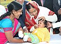 The President, Smt. Pratibha Devisingh Patil administering polio drops to a child at the Pulse Polio Immunisation camp at Jalgaon in Maharashtra on February 10, 2008.jpg