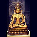 The Transcendent Buddha Aksobhya Original title- Mi bskyod pa 14th century Brass Western Tibet Folch Collection Buddha Aksobhya helps to overcome rage, one of the obstacles to achieving liberation. He is often shown crowned, bejewelle.jpg