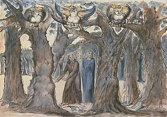 Pietro della Vigna - The Wood of the Self-Murderers: The Harpies and the Suicides, c. 1824–7. William Blake, Tate. 372 × 527mm. Shown is a scene from the Divine Comedy: Dante and Virgil discover Pietro's body encased in a tree.