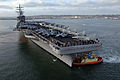 The aircraft carrier USS Ronald Reagan (CVN 76) returns to its homeport at San Diego, Calif., April 7, 2008, after successfully completing composite training unit exercise 080407-N-HX866-006.jpg