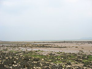 Menai Strait fish weirs - Image: The beach at low tide near Tre castell Farm geograph.org.uk 435214