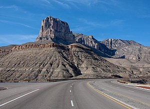 U.S. Route 62 in Texas - El Capitan as seen from US 62 in Guadalupe Mountains National Park