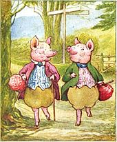 Illustration of dressed pigs