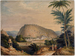 History of Bundi - Watercolour painting of the town and pass of Bundi in Rajasthan, by an anonymous artist working in the British school, c. 1840.