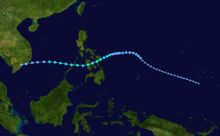Map plotting the track and the intensity of the storm, according to the Saffir-Simpson scale Thelma 1991 track.png