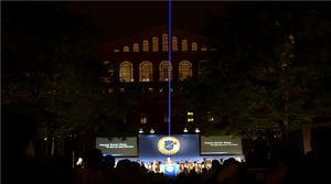 Thin blue line - A blue laser beam was projected during the 24th annual National Law Enforcement Officers Memorial on 13 May 2012 in Washington, D.C.