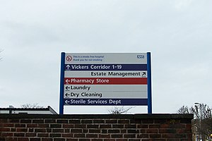 Frutiger (typeface) - The National Health Service in England uses Frutiger. This sign is at the Northern General Hospital, Sheffield.