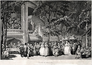 Vauxhall Gardens - An entertainment in Vauxhall Gardens in about 1779, by Thomas Rowlandson. The two women in the centre are Georgiana, Duchess of Devonshire and her sister Lady Duncannon. The man seated at the table on the left is Samuel Johnson, with James Boswell to his left and Oliver Goldsmith to his right. To the right the actress and author Mary Darby Robinson stands next to the Prince of Wales, later George IV