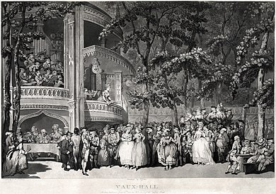 Vauxhall Gardens (1785). The two women in the centre are Georgiana, Duchess of Devonshire and her sister Lady Duncannon. The man seated at the table on the left is Samuel Johnson, with James Boswell to his left and Oliver Goldsmith to his right. To the right the actress and author Mary Darby Robinson stands next to the Prince of Wales, later George IV Thomas Rowlandson - Vaux-Hall - Dr. Johnson, Oliver Goldsmith, Mary Robinson, et al.jpg