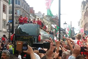 Chris Coleman (footballer) - Coleman on Wales' parade through Cardiff city centre after Euro 2016