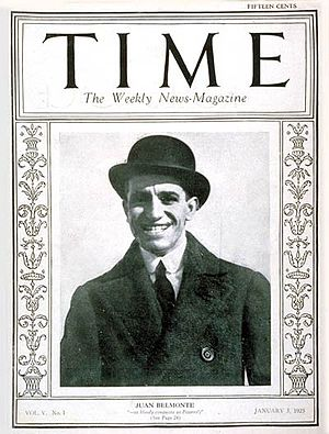 Juan Belmonte - Belmonte on cover of Time magazine, 5 January 1925