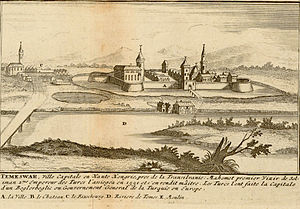 Temeşvar Eyalet - Famous mosques in the city of Timișoara, Romania in the year 1656.