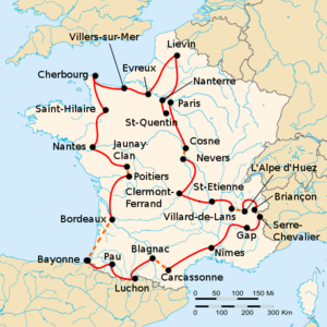 Map of France with the route of the 1986 Tour de France