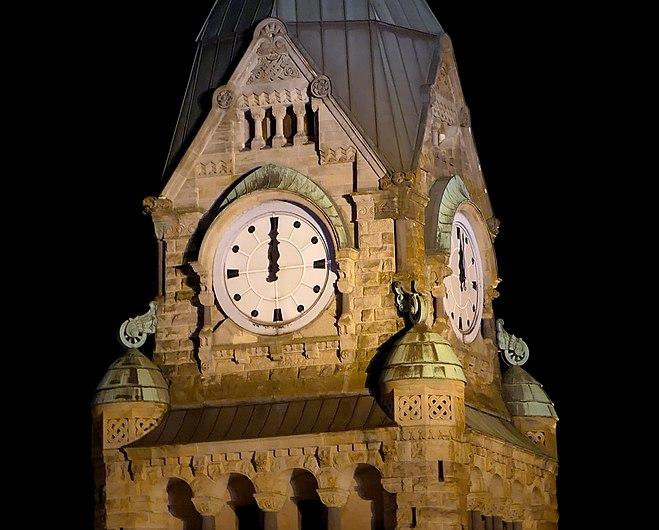 Tour de l'horloge de la gare de Metz à Minuit (juin 2019) (cropped).JPG