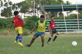 Tuvalu Sports Ground - Players training in the Tuvalu Sports Ground