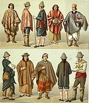 Trajes chilenos -Geschichte des kostüms in chronologischer entwicklung 1888- A. Racinet