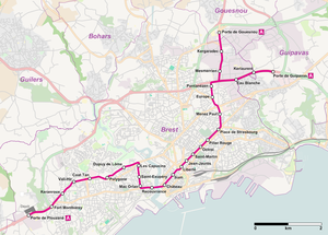 Brest tramway - Map of Brest tramway