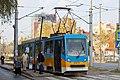 Tram in Sofia near Russian monument 050.jpg