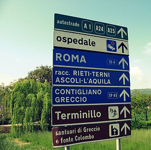 Road signs in Italy - An example of a directional road sign in Italy, in this case near Rieti.