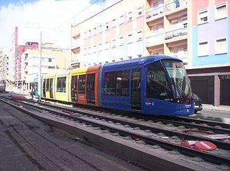 Tenerife Tram - A tramcar in La Laguna during a test run (2007)