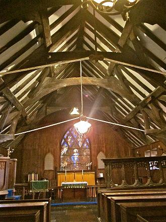 Trelystan - Trelystan Church. Rood screen on right