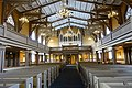 Tromsø Cathedral (domkirke) Norway interior. Gallery, Claus Jensen organ (orgel) 1863, chandeliers, pews, timber roof truss (takstoler), pillars, etc Wooden Gothic Revival style church 1861 2019-04-04 DSC02206.jpg