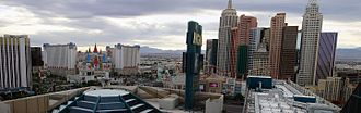 Tropicana – Las Vegas Boulevard intersection - View of the intersection from the MGM Grand