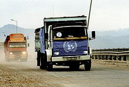 Trucks loaded with supplies to aid Kurdish refugees.JPEG