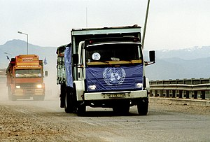 1991 uprisings in Iraq - UNHCR trucks with aid supplies for Kurdish refugees, 29 April 1991