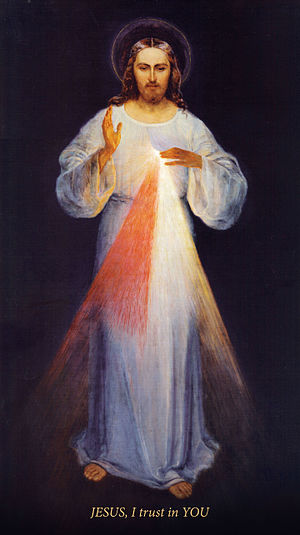 Divine Mercy image - Original painting of the Divine Mercy (by Eugeniusz Kazimirowski in 1934) with English version of inscription. This is this image which was done with Sister Faustina's instructions and before her death in 1938, unlike the most known version by Adolf Hyła painted in 1943.