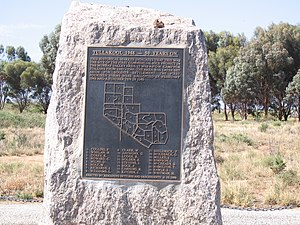 Irrigation in Australia - Memorial marking the site of the first commercial rice crop in the Murray valley at Tullakool, New South Wales