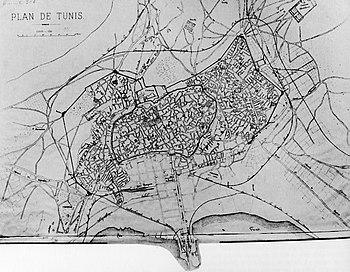 Plan de Tunis en 1881