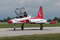 Turkey - Air Force Northrop (Canadair) NF-5B (CL-226) Turkish Star n.4 taxing @ LIPI (21468084024).jpg